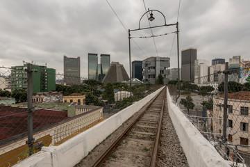 Old Railway over the Lapa Arch in Rio de Janeiro, Brazil