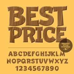 Vector set of alphabet letters, numbers and punctuation symbols. Wooden poster with text Best price