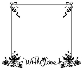 Black and white frame with roses silhouettes. Vector clip art.
