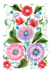 The Ukrainian decorative list.The Ukrainian girl in a flower garden with on a white background.