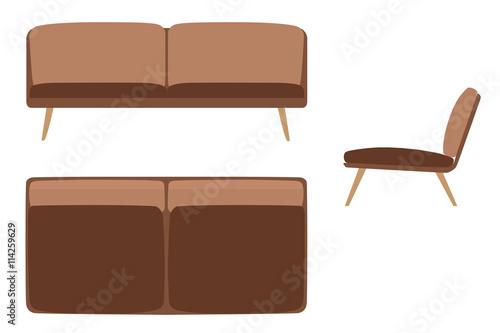Sofas Set Furniture For Your Interior Design Flat Vector
