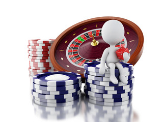 3d Casino roulette wheel with chips.