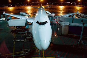 Jumbo Jet at night at Frankfurt Airport, Frankfurt, Hesse, Germany