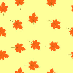 seamless texture of maple leaves on a light orange background...Perfect for wallpapers, wrapping papers, pattern fills, textile, autumn greeting cards, Thanksgiving Day cards