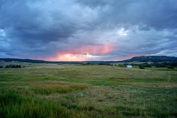 Sunset over grassland, colorado