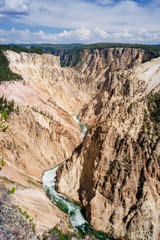 Elevated view of yellowstone river cutting through mountains