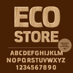Vector set of alphabet letters, numbers and punctuation symbols. Wooden logotype with text Eco store