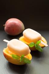 Mango fruit sorbet ice cream popsicles.