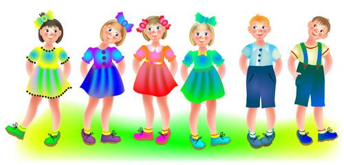 Illustration of six children, vector cartoon image.