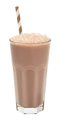 Tuinposter Milkshake chocolate milkshake in a tall glass isolated