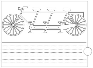 Coloring book with retro bicycle and place for text