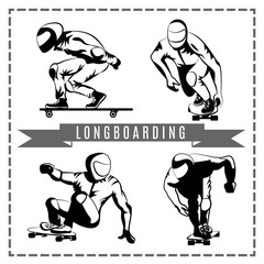 Vector image of silhouette. Longboarding. Sport