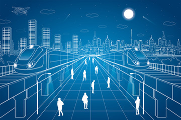 People walk on the square, the train going over bridges, night city in the background, office buildings, vector design art