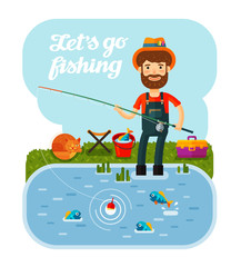 Fisherman with a fishing rod in his hands. Camping, vacation, relax. Cartoon vector illustration