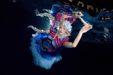 Underwater model presenting fashion in pool