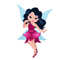 Illustration of a beautiful burgundy fairy in flight Isolated on white background.