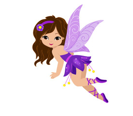 Illustration of a beautiful purple fairy in flight.