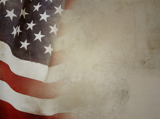 American flag and brown background