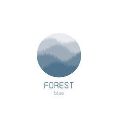 Isolated round vector logo. Blue forest view image. Natural landscape icon.