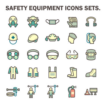 Safety equipment icon or personal protective equipment (PPE) in industrial work. Consist of air purifying respirator, helmet, earmuff, shield, glasses, fire resistant clothing etc. For protect wearer.
