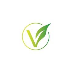 letter v organic green leaf logo