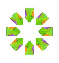 Vector green arrows fractal logo