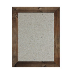 Old wooden frame isolated and have brown paper background.