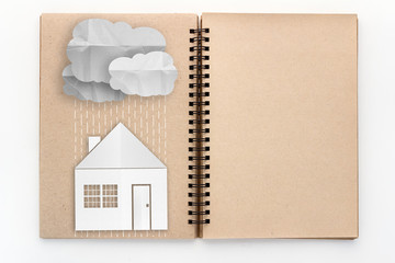 Concept of protecting the home from bad weather, rain or cold.