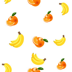 Background with bananas, oranges and lemons