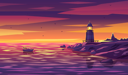 Colorful lighthouse illustration for any navigation concept, also a logo idea.