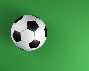 Soccer ball with shadows on green background.