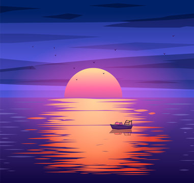 Fishing boat sunset vector background concept