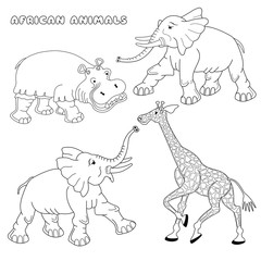 Coloring book or page with elephant, hippo and giraffe. Vector illustration.