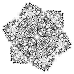 Coloring book or tatoo with  mandala. Vector illustration.
