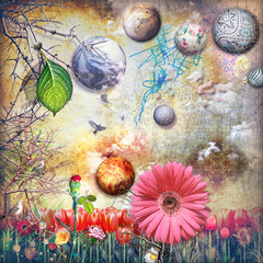 Wall Murals Imagination Enchanted country with tulips field and colored flowers