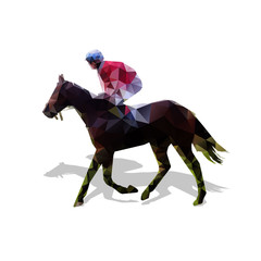 Horse racing, abstract vector geometric silhouette. Horse and jo
