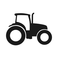 Tractor vector icon. Pictogram tractor, side view