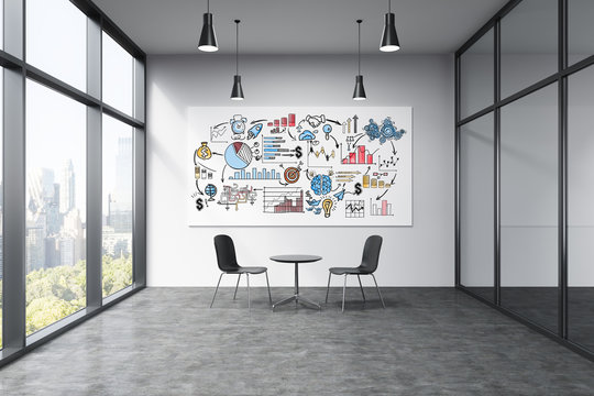 Business drawing on whiteboard