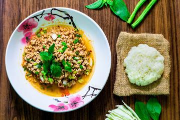 spicy minced pork salad, minced pork mash with spicy, Thai food ,local food