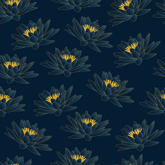 water lily dark blue and gold pattern