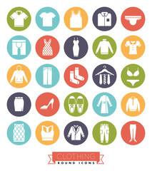 Clothing and Fashion Round Color Icon Set