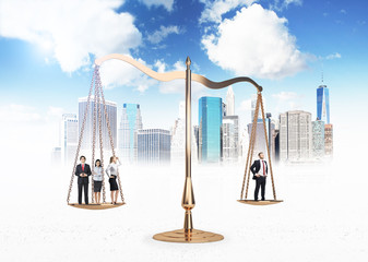 Businesspeople on scales NY background