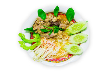 Thai vermicelli eaten with curry and vegetable isolated on white, noodle,  boiled Thai rice vermicelli, usually eaten with curries or Thai style.