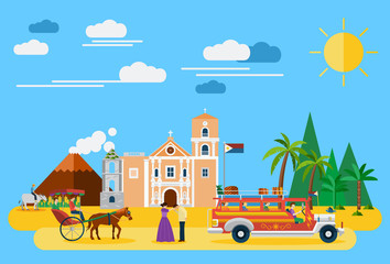 Illustration of Philippines's landmarks and icons