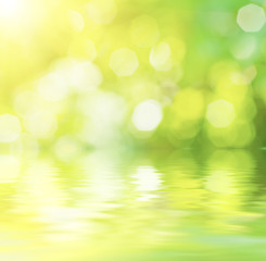 Sunny abstract green nature background with water reflection, eco spring concept