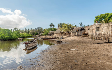 Old wooden fishing boats in Mobmasa, Africa