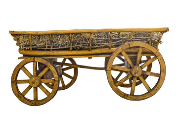Old wooden cart with hay isolated on a white background, retro, history