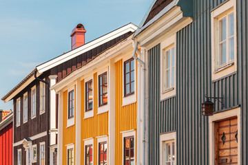 Ancient wooden houses in Karlskrona, Sweden