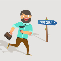 Success concept. Happy businessman running to the success sign. Stylish male character with smart phone and brief case running to achievement. Vector colorful illustration in flat style