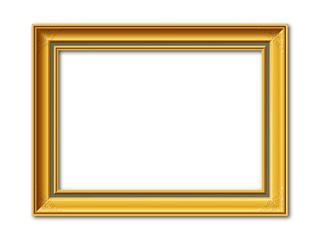 Goldener antiker Vektor Bilderrahmen mit Reliefornamenten isoliert auf weißem Hintergrund